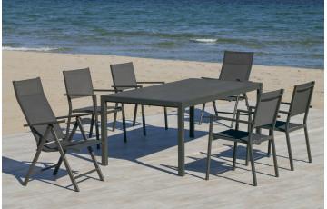 Table salon de jardin 8 personnes en aluminium et HPL - Palma - Hevea