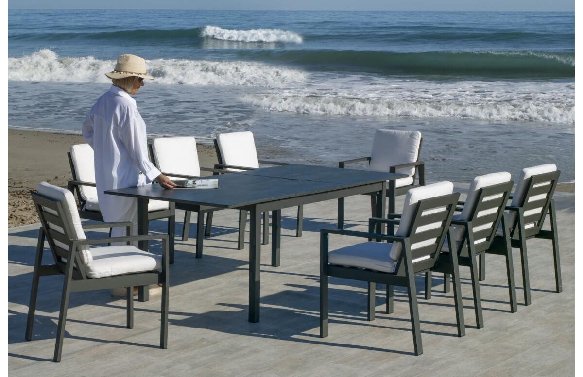 Table salon de jardin extensible 8 personnes en aluminium et HPL - Palma - Hevea