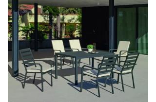 Ensemble table et fauteuils de jardin 6 personnes en aluminium et Dralon - Palma caravel - anthracite - Hevea