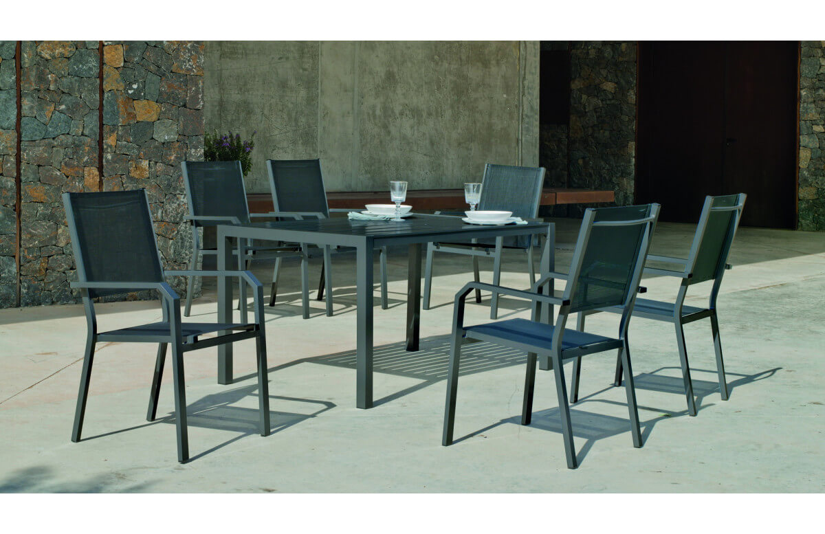 Ensemble table et fauteuils de jardin 6 personnes en aluminium et textilène - Palma gema - anthracite - Hevea