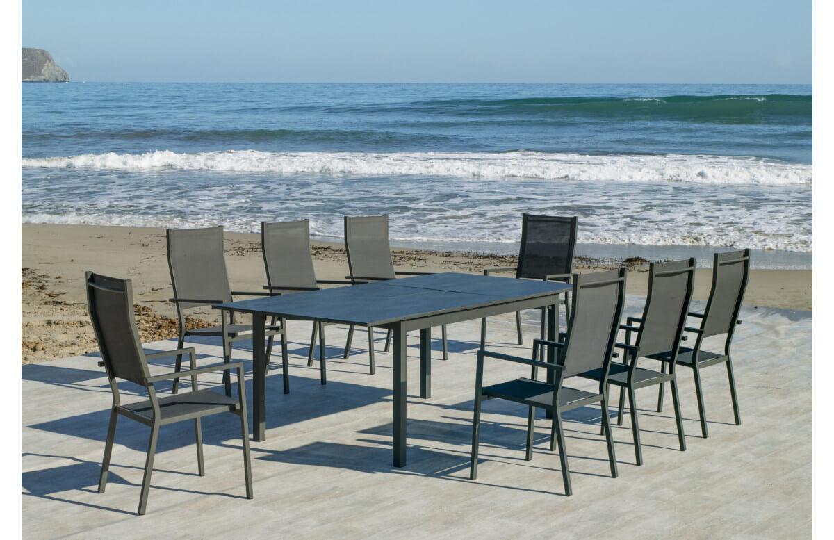 Ensemble table et fauteuils de jardin extensible 8 personnes en aluminium et HPL - Palma janeiro - anthracite - Hevea