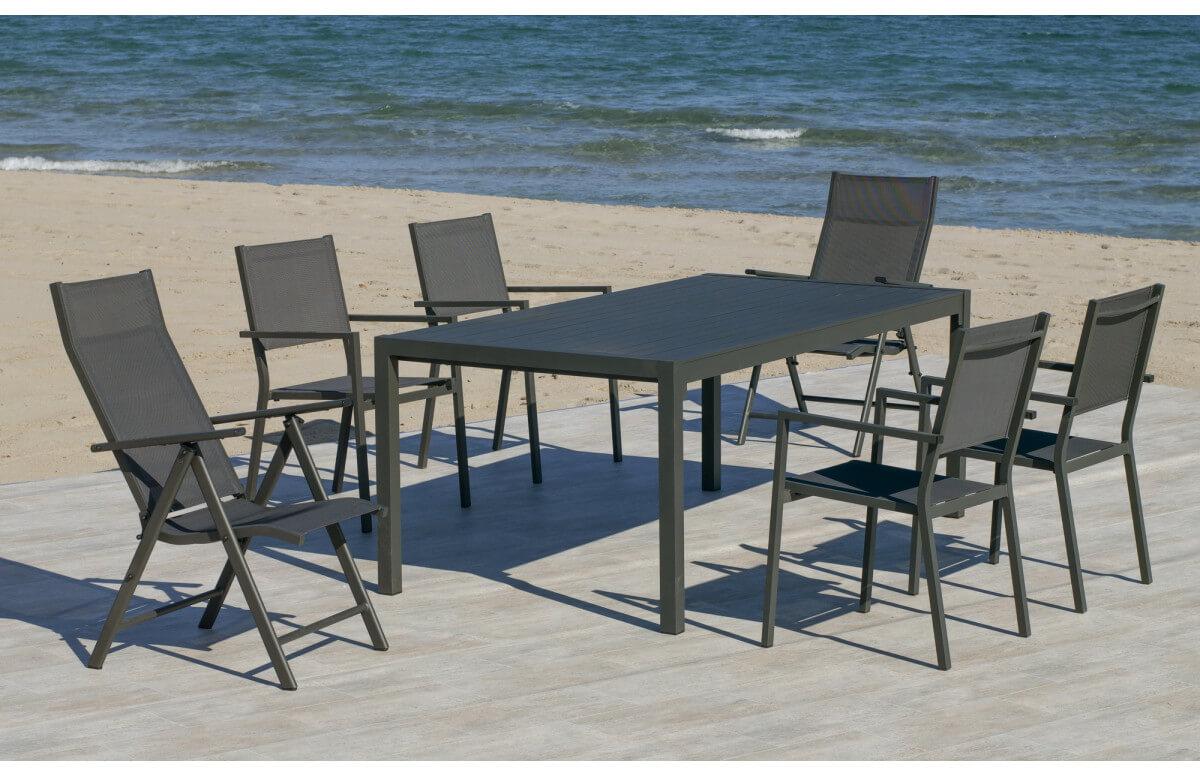 Ensemble table et fauteuils de jardin pliable 6 personnes en aluminium et textilène - Palma roma casablanca - anthracite - Hevea