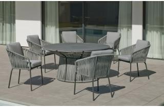Ensemble table et fauteuils de jardin 6 personnes en aluminium et Neolith - Rhodos/tulip - anthracite - Hevea