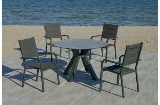 Ensemble table ronde et fauteuils de jardin 4 personnes en aluminium et HPL - Sumatra/priscila - anthracite - Hevea