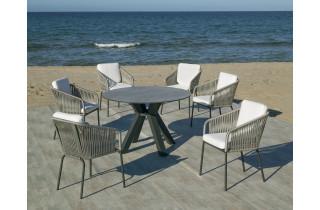 Ensemble table ronde et fauteuils de jardin 6 personnes en aluminium et HPL - Sumatra/tulip - anthracite - Hevea
