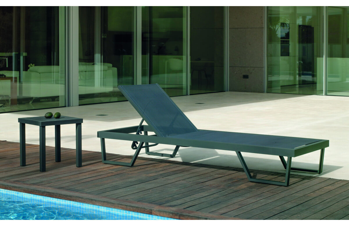 Bain de soleil multi-positions en aluminium et textilène - Tifanis - Hevea