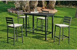 Ensemble haut table et fauteuils de jardin 4 personnes en aluminium et Dralon - Tropea - Hevea