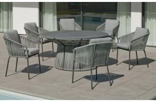 Fauteuil salon de jardin en aluminium et cordage - Tulip - Hevea