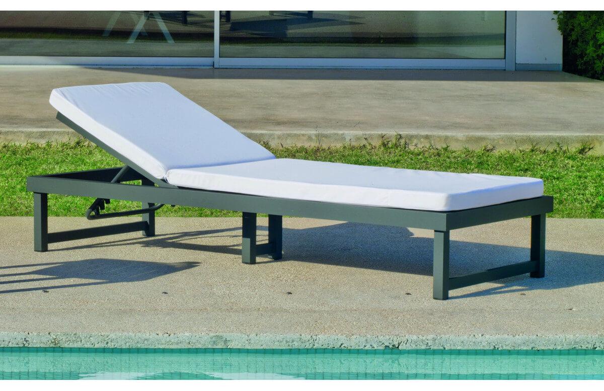 Bain de soleil multi-positions en aluminium et Dralon - Venecia - Hevea