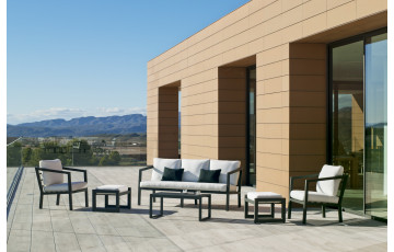 Salon de jardin bas 7 personnes en aluminium et Dralon - Acapulco - Hevea