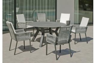 Ensemble table ronde et fauteuils de jardin 6 personnes en aluminium et Neolith - Boheme saigon /catania - Hevea