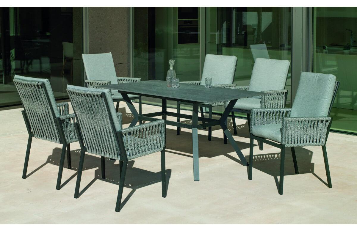 Ensemble table et fauteuils de jardin 6 personnes en aluminium et Neolith - Boheme saigon /catania - Hevea