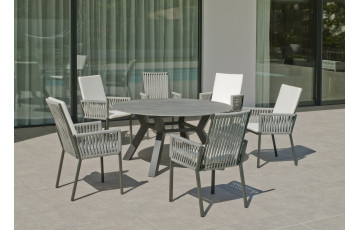 Table ronde salon de jardin 6 personnes en aluminium et Neolith - Boheme saigon - Hevea