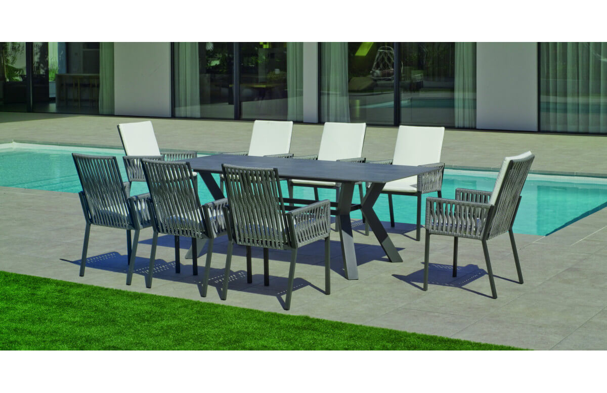 Table salon de jardin 8 personnes en aluminium et Neolith - Boheme saigon - Hevea