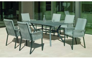 Table salon de jardin 6 personnes en aluminium et Neolith - Boheme saigon - Hevea