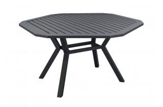 Table salon de jardin hexagonale 6 personnes en aluminium - Brasilia - Hevea