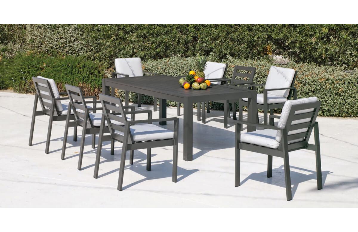 Ensemble table et fauteuils de jardin 8 personnes en aluminium et Dralon - Camelia - Hevea
