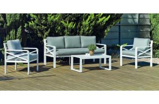 Salon de jardin bas 5 personnes en aluminium et Dralon - Lausana - Hevea