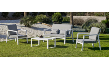 Salon de jardin bas empilable 4 personnes en aluminium et Dralon - Agata - blanc - Hevea
