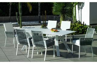Ensemble table et fauteuils de jardin 6 personnes en aluminium et Krion - Andes/tulip - blanc - Hevea