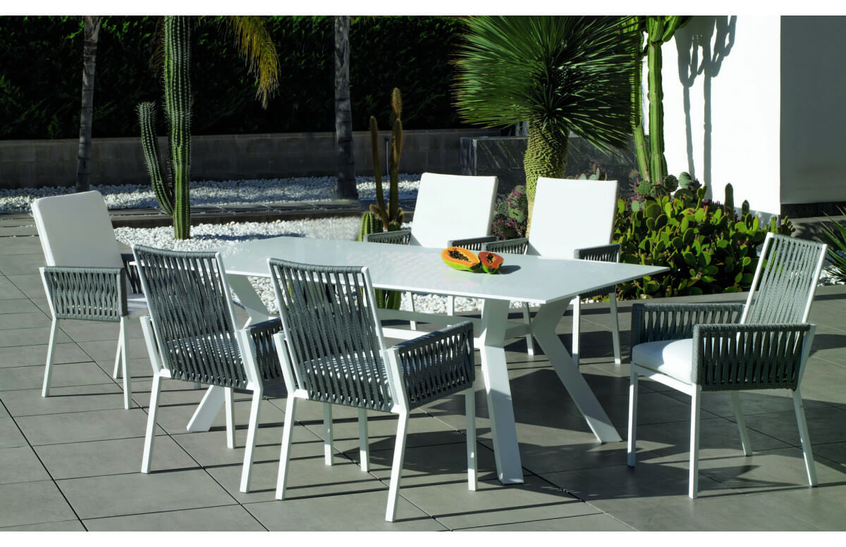 Ensemble table ronde et fauteuils de jardin 6 personnes en aluminium et Krion - Andes/tulip - blanc - Hevea