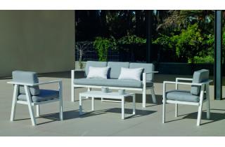 Salon de jardin bas 5 personnes en aluminium et Dralon - Azores - blanc - Hevea