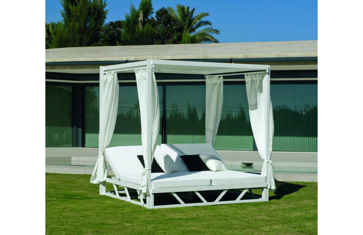 Lit de jardin balinaise multi-positions 2 personnes en aluminium et Dralon - Balinaise - blanc - Hevea