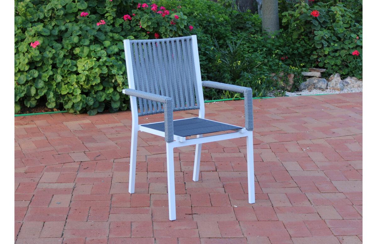 Fauteuil salon de jardin en aluminium et cordage - Belmond - blanc - Hevea