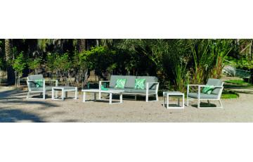 Salon de jardin bas 7 personnes en aluminium et Dralon - Bolonia - blanc - Hevea