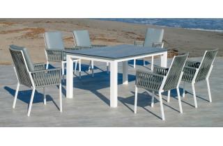 Ensemble table et fauteuils de jardin 6 personnes en aluminium et HPL - Camelia/catania - Hevea
