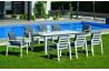 Ensemble table et fauteuils de jardin 8 personnes en aluminium et HPL - Camelia - blanc - Hevea