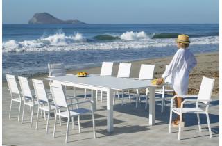 Ensemble table et fauteuils de jardin extensible 10 personnes en aluminium et HPL - Camelia priscila - blanc - Hevea