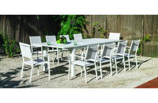 Ensemble table et fauteuils de jardin extensible 10 personnes en aluminium et textilène - Camelia roma - blanc - Hevea