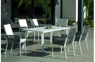 Fauteuil salon de jardin en aluminium et cordage - Catania - Hevea