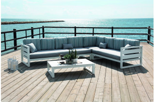 Salon de jardin bas d'angle 7 personnes en aluminium et Dralon - Cosmos - blanc - Hevea
