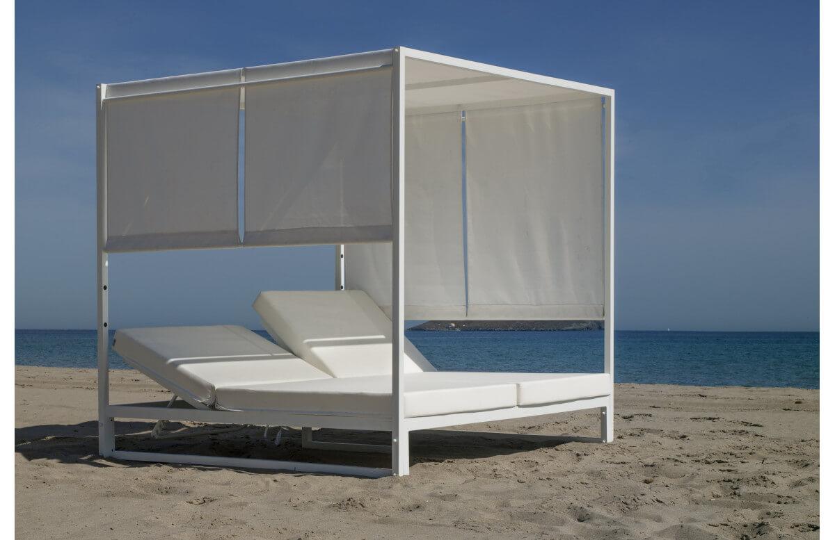 Lit de jardin balinaise multi-positions 2 personnes en aluminium et Dralon - Creta - blanc - Hevea