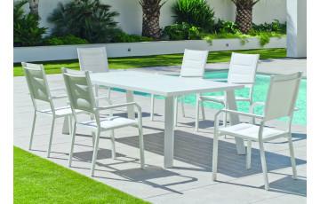 Ensemble table et fauteuils de jardin 6 personnes en aluminium et textilène - Dalas/priscila - blanc - Hevea