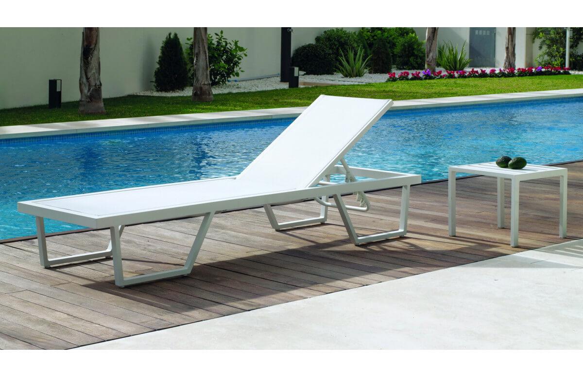 Bain de soleil multi-positions en aluminium et textilène - Elois - blanc - Hevea