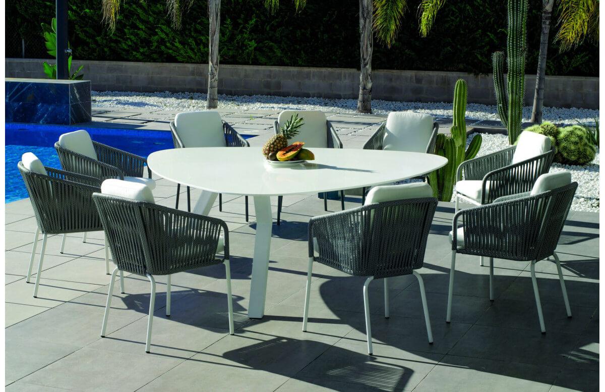 Ensemble table triangulaire et fauteuils de jardin 9 personnes en aluminium et Krion - Everest/tulip - blanc - Hevea