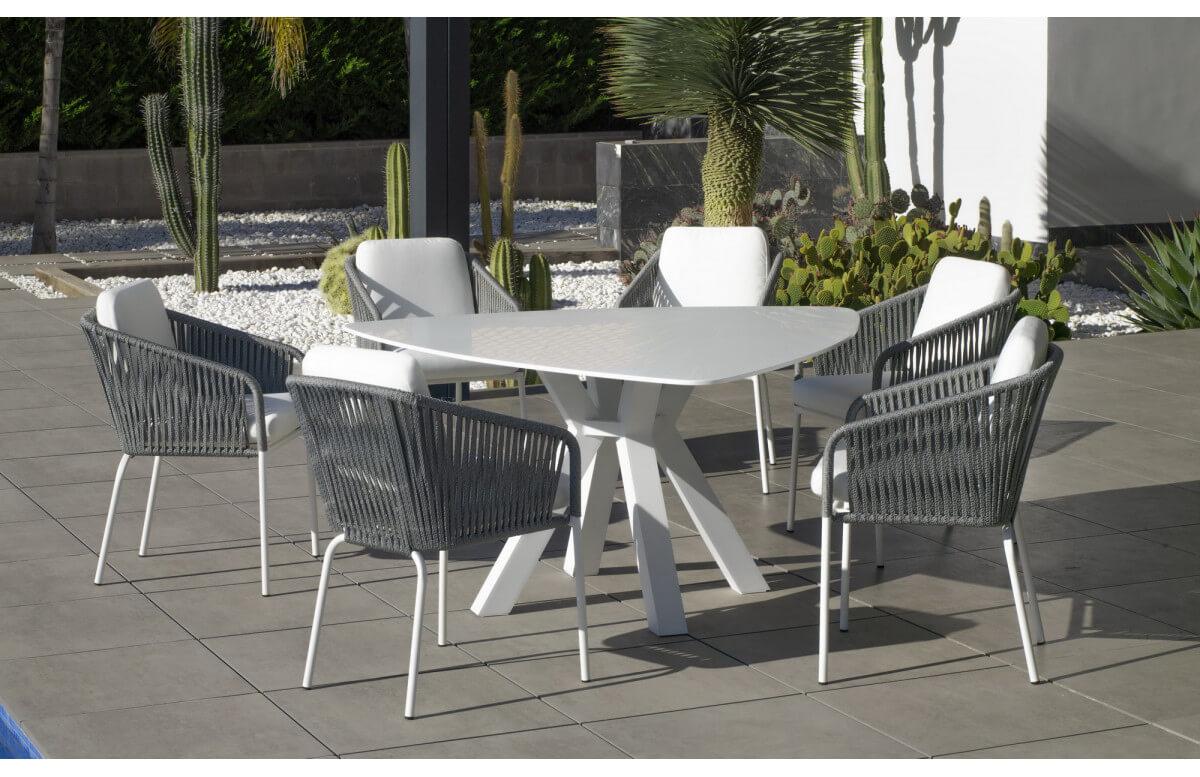 Ensemble table triangulaire et fauteuils de jardin 6 personnes en aluminium et Krion - Everest/tulip - blanc - Hevea