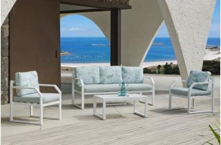 Salon de jardin bas 5 personnes en aluminium et Dralon - Genova - blanc - Hevea