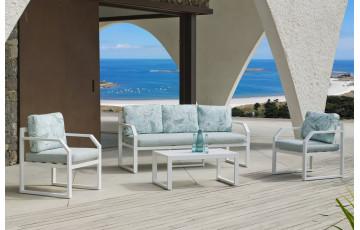 Salon de jardin bas 5 personnes en aluminium et Dralonlux - Genova - blanc - Hevea