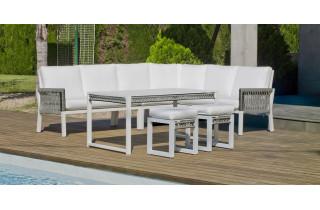 Salon de jardin bas d'angle 8 personnes en aluminium et cordage - Havana - blanc - Hevea