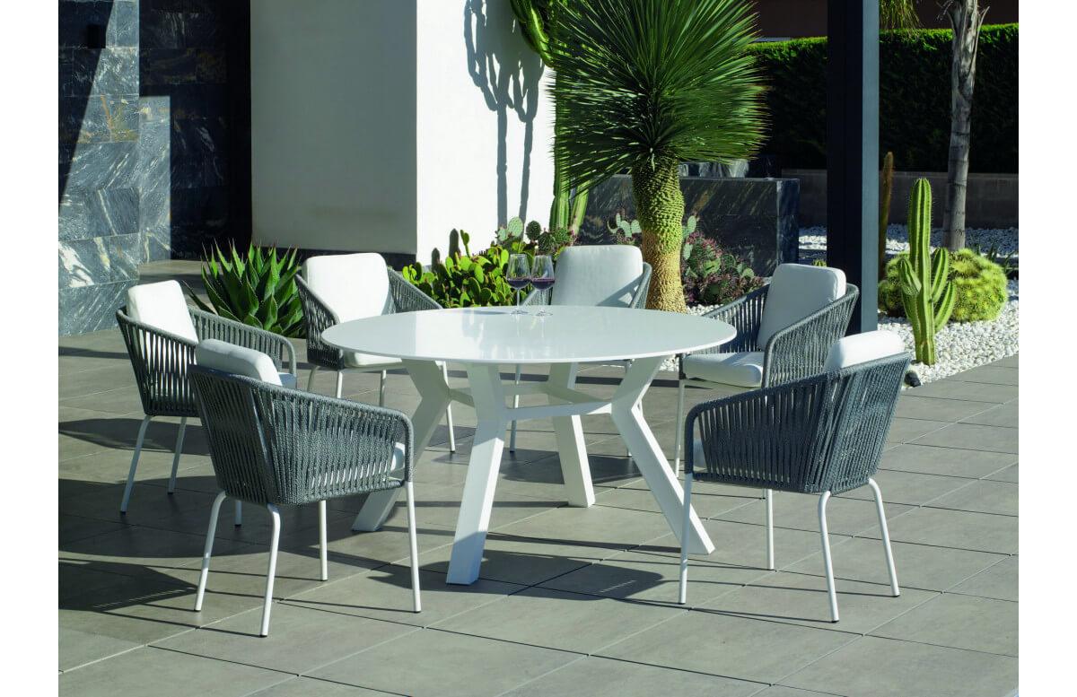 Ensemble table et fauteuils de jardin 6 personnes en aluminium et Krion - Montblanc/tulip - blanc - Hevea