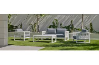 Salon de jardin bas 5 personnes en aluminium et cordage - Monterrey - Hevea