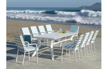 Ensemble table et fauteuils de jardin 10 personnes en aluminium et Dralon - Olimpia/caravel - blanc - Hevea