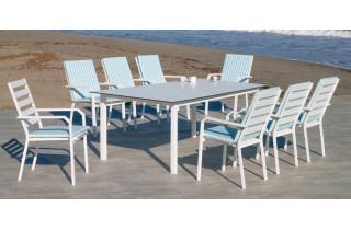 Ensemble table et fauteuils de jardin 8 personnes en aluminium et HPL - Palma/caravel - blanc - Hevea