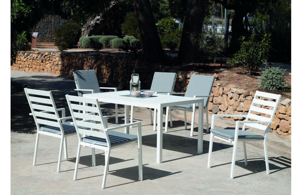 Ensemble table et fauteuils de jardin 6 personnes en aluminium et Dralon - Palma - Hevea