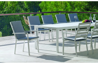Fauteuil salon de jardin en aluminium et Dralon - Palma - Hevea