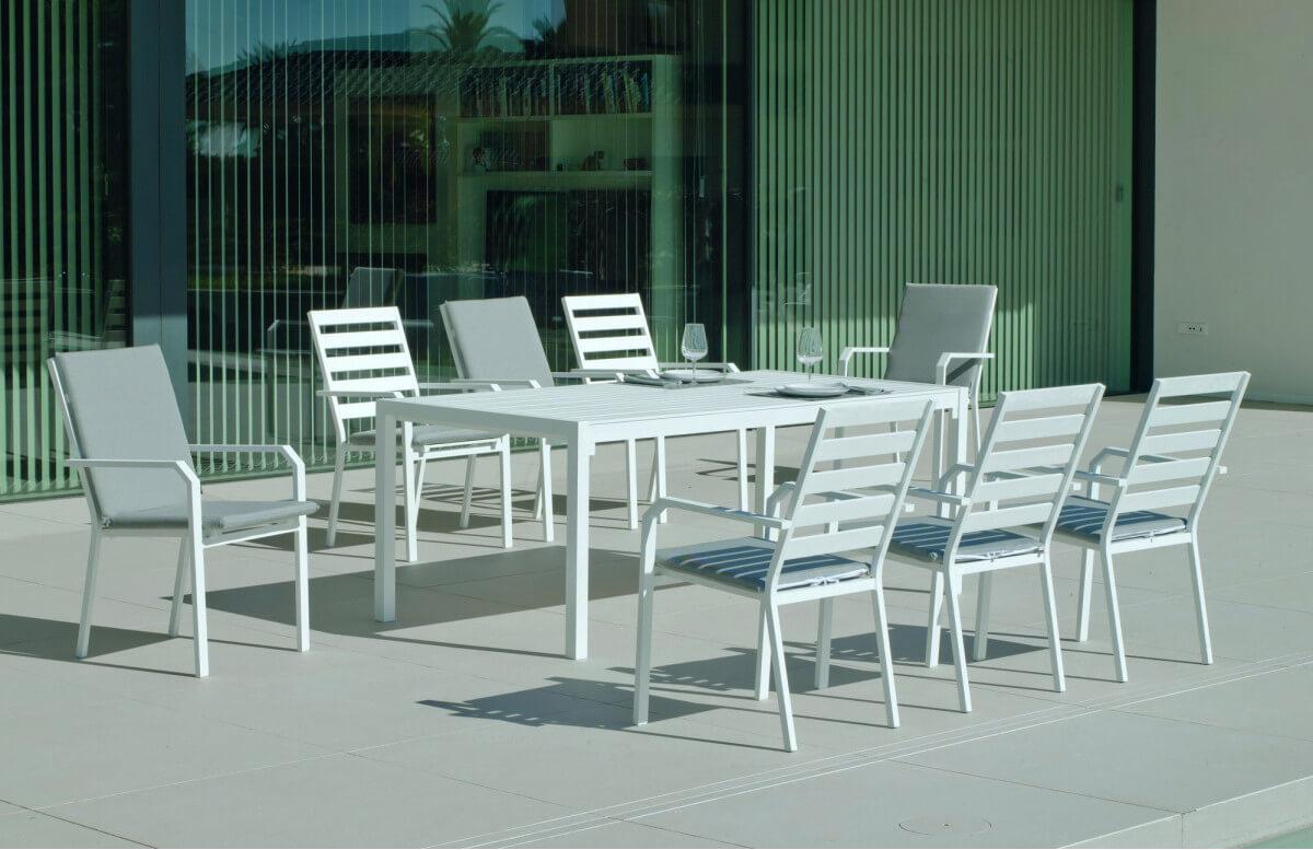 Ensemble table et fauteuils de jardin 8 personnes en aluminium et Dralon - Palma caravel - blanc - Hevea